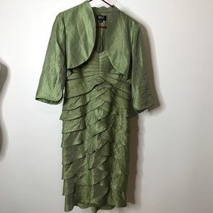 Adrianna Papell Tiered Dress with Shrug Size 14